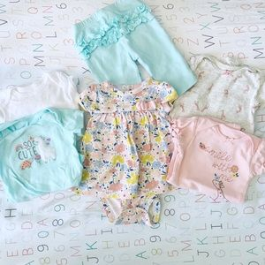 •, Bundle of 6 Baby Girl Onesie Pants floral